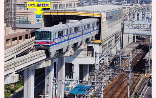 モノレールと阪急電車宝塚線、両方の「蛍池駅」と直結しております。